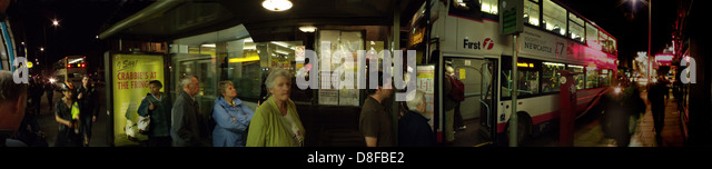 Waiting for the night bus Newington Edinburg old town Scotland UK - Stock Image