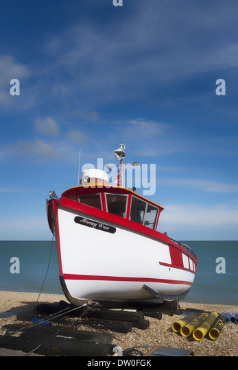Beached fishing boat at Deal Kent UK - Stock Image