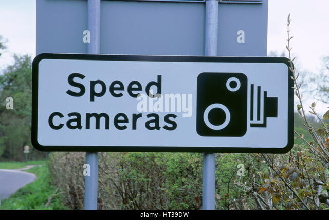 Speed Camera warning sign. Artist: Unknown. - Stock Image