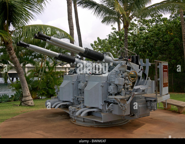 Flak at Pearl Harbor, Hawaii - Stock Image