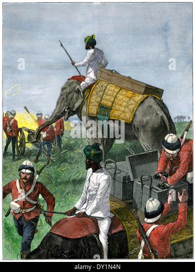 Elephants in use by British artillery regiment in Burmah (Myanmar), 1880s. - Stock-Bilder