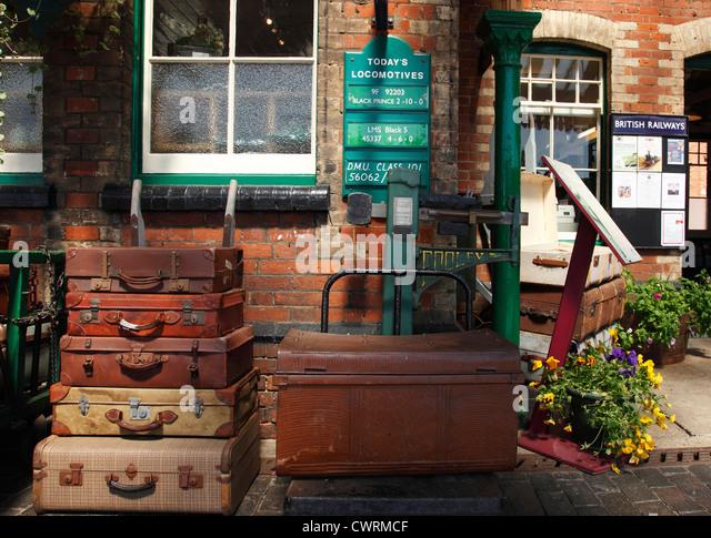 Suitcases on the platform at Sheringham Station, Norfolk, England, U.K. - Stock Image