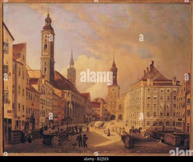 fine arts, Jodl, Ferdinand (1805 - 1882), painting, Tal with High Bridge, oil on canvas, 1835, Stadtmuseum, Munich, - Stock Image