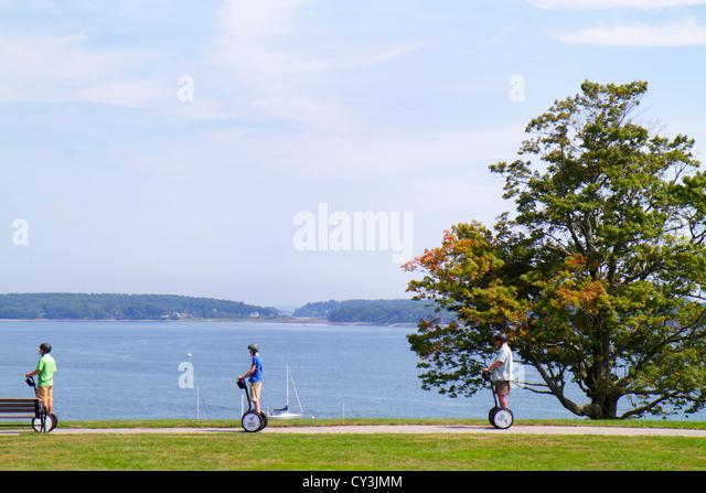 Portland Maine Casco Bay Fort Ft. Allen Park Segway Segways tree scenic - Stock Image
