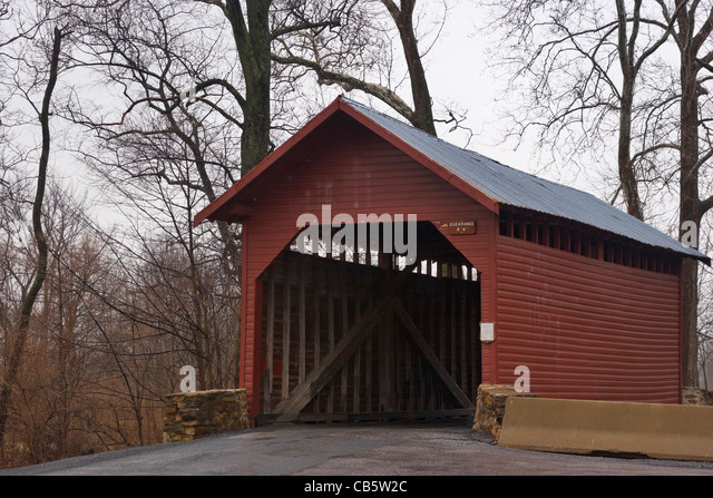 The Roddy Road Covered Bridge, Thurmont, Maryland. - Stock Image
