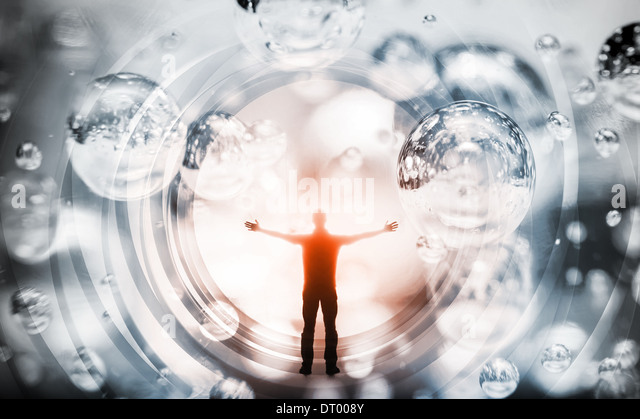 Abstract concept illustration with man inside fantasy background - Stock Image