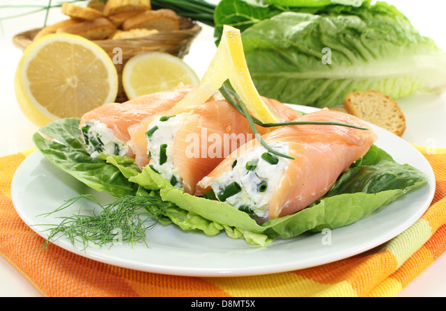 Smoked salmon appetizers stock photos smoked salmon for Smoked salmon roulade canape