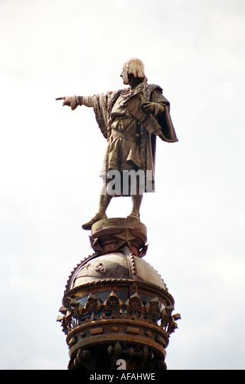 Columbus memorial at Placa del Portal de la Pau, Barcelona, Catalonia, Spain - Stock-Bilder