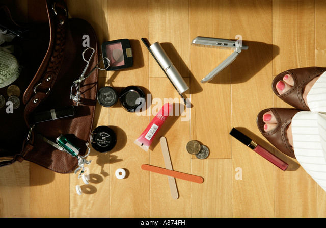 Makeup articles, elevated view - Stock Image