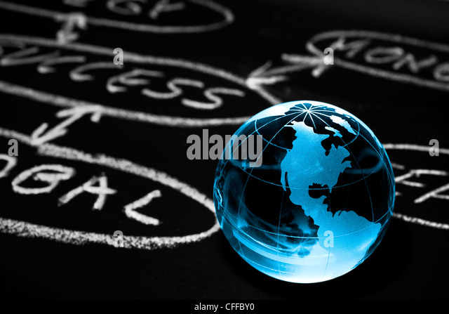 Flowchart on a chalk board with world globe showing America - Stock Image