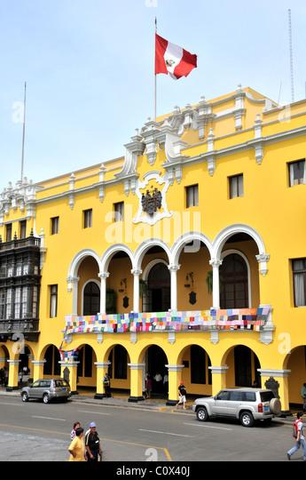 Plaza Mayor, city hall, Lima Peru - Stock Image