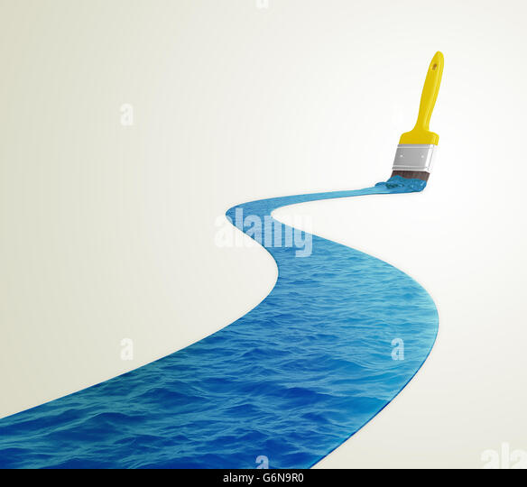 Water painted with a paintbrush - 3D illustration - Stock-Bilder