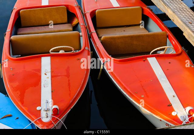Two red passenger boats docked on Lake Constance Bregenz Austria - Stock-Bilder