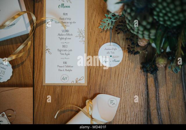Arrangement on table of wedding reception - Stock Image