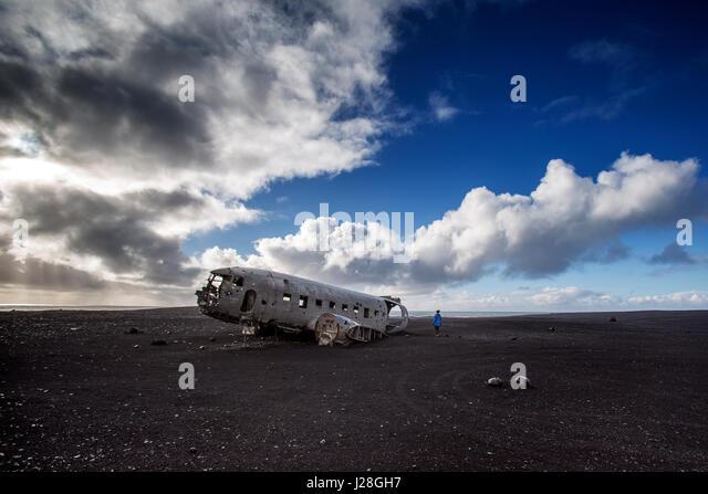 DC 3 Airplane wreck on Solheimasandur in Iceland - Stock Image