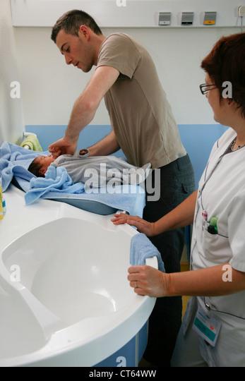 NEWBORN BABY HYGIENE - Stock Image