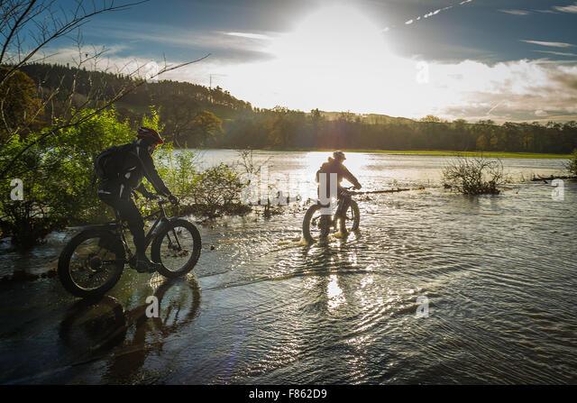 Scottish Borders UK Dec 06 2015;  The Scottish Borders suffer flooding following Storm Desmond. Graeme Henry and - Stock Image