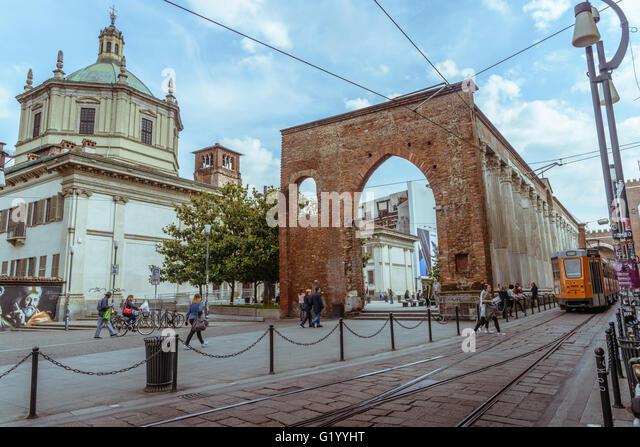 Colonne di San Lorenzo, located in front of the Basilica of San Lorenzo Maggiore, Milan, Italy - Stock Image