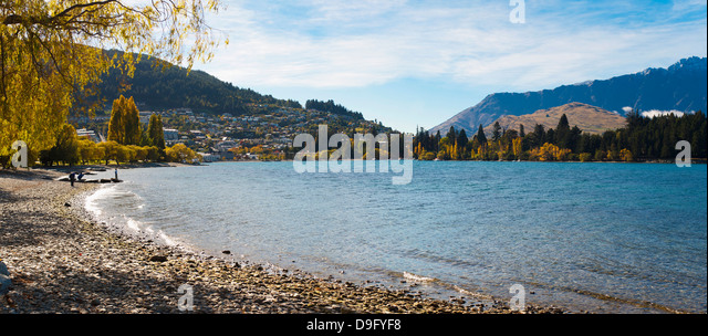 Queenstown Bay and Lake Wakatipu panorama, Otago, South Island, New Zealand - Stock Image