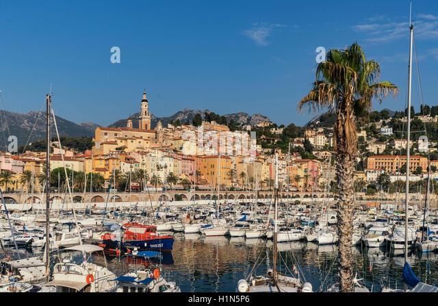 Marina of Menton, French Rivera, Cote D Azur, France - Stock Image