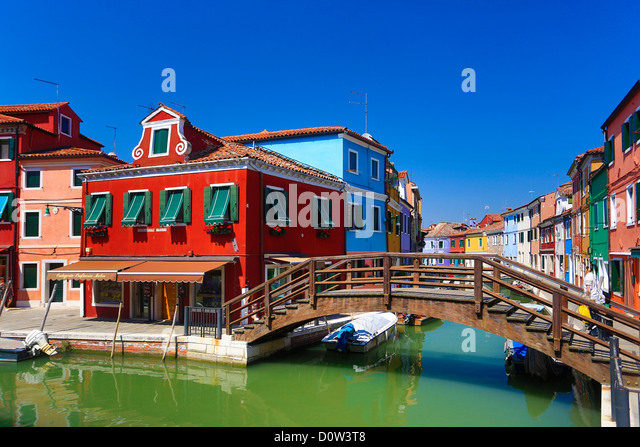 Italy, Europe, travel, Burano, architecture, boats, canal, colourful, colours, tourism, Venice, tower, bridge - Stock-Bilder