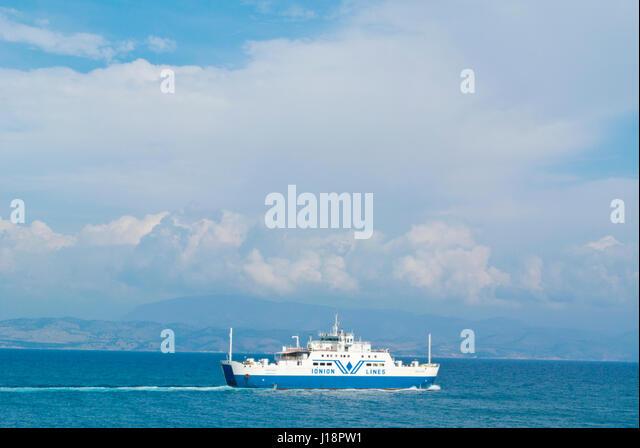 Ionian lines ferry, to Igoumenitsa, in front of Corfu town, Kerkyra, Corfu Island, Ionian islands, Greece - Stock Image