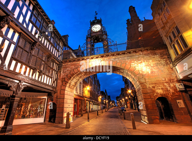 in the city of Chester, NW England UK taken at dusk - Stock Image