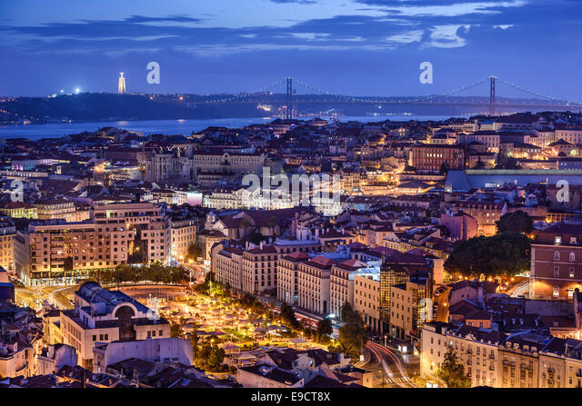 Lisbon, Portugal skyline at night. - Stock Image