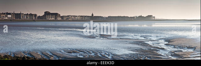 Tide out at Morecambe Bay at sunset, Lancashire, England UK - Stock Image