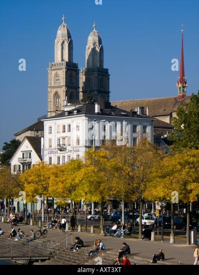 Switzerland Zurich Grossmunster Limmatquai in autumn promenade - Stock Image