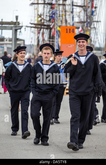 Aarhus, Denmark. 4th July, 2013. Young crew members of the Danish vessel Georg Stage during The Tall Ships Races - Stock Image