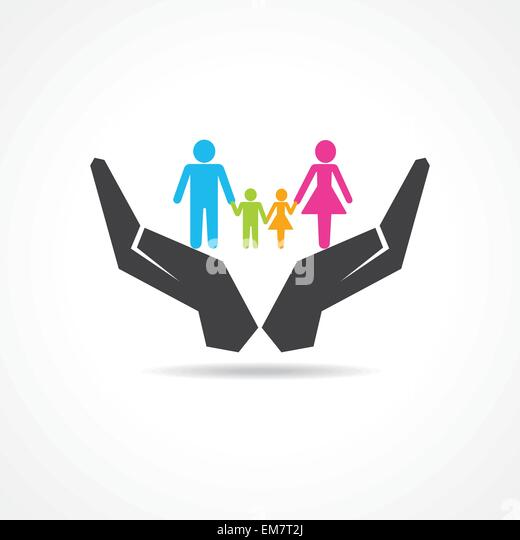 secure or save family under hand concept - Stock-Bilder