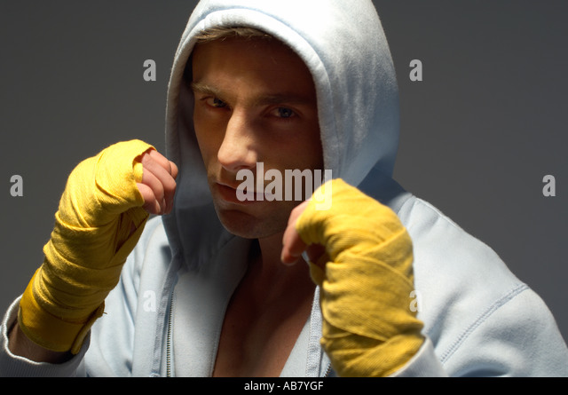boxer warming up before a fight - Stock Image