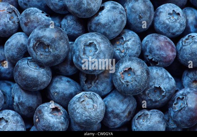 Close up of bunch of blueberries - Stock Image