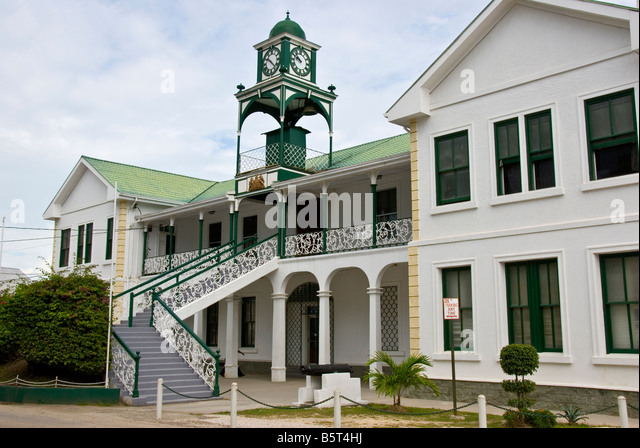 Belize City Supreme Court Building built 1926 classic British colonial style architecture dome topped clock tower - Stock Image