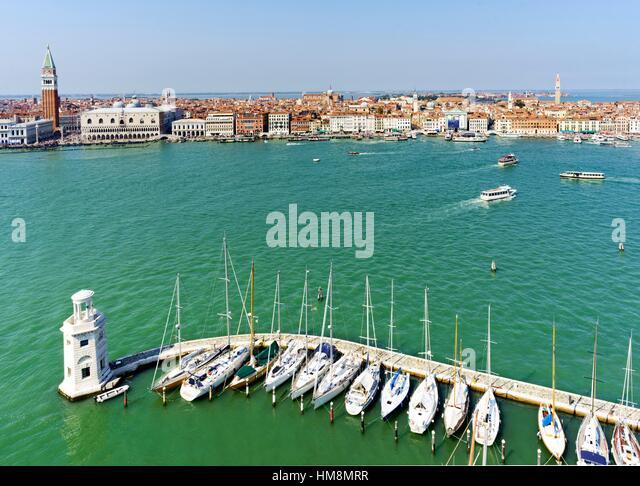 Aerial view of Venice Italy from San Giorgio Maggiore - Stock Image