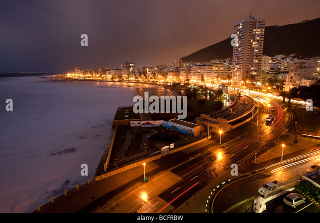 Sea Point, Green Point, Atlantic Seaboard, Night photo, lights, cars, traveling, city Cape Town, South Africa, Atlantic - Stock Image