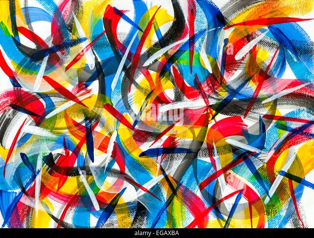 Modern abstract acrylic painting by Ed Buziak - France. - Stock Image