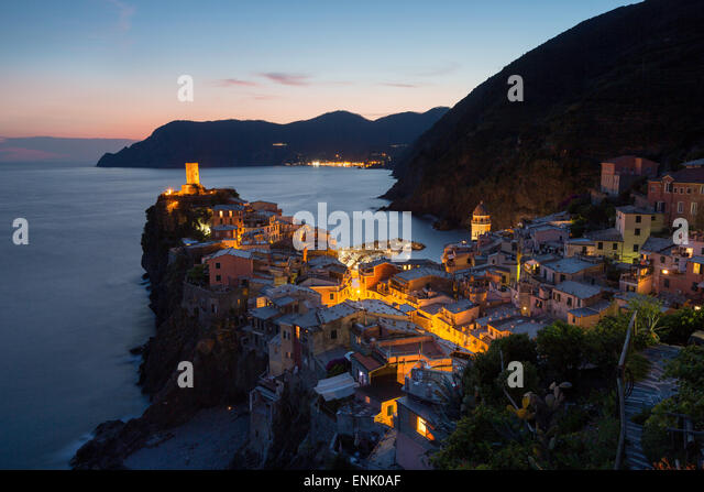 Vernazza in the evening, Cinque Terre, UNESCO World Heritage Site, Liguria, Italy, Europe - Stock Image
