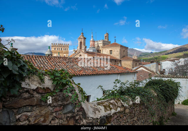 View of historic building roofs of Guadalupe Town, Caceres, Extremadura, Spain - Stock Image