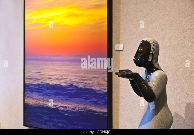 The photographs of WINSTON BOYER and stone carvings from Zimbabwe - CARMEL, CALIFORNIA - Stock Image