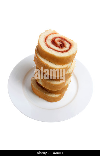 Plate of Swiss Sponge Roll - Stock Image