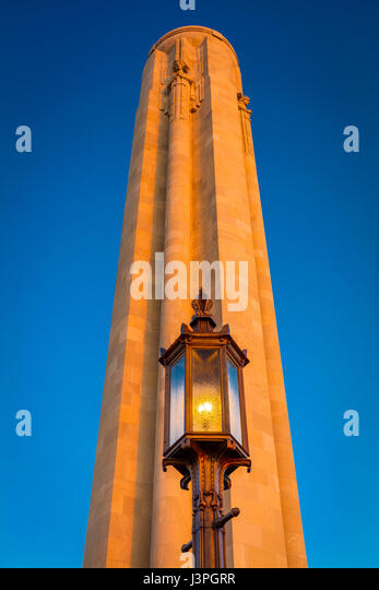 The Liberty Memorial, located at the National World War I Museum and Memorial in Kansas City, Missouri, USA, is - Stock Image