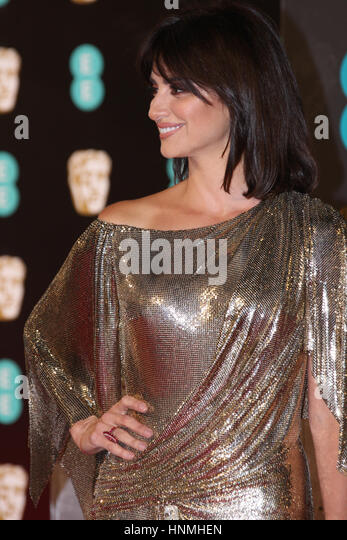 LONDON - FEB 12, 2017: PenŽlope Cruz attends The EE British Academy Film Awards (BAFTA) at the Royal Albert Hall - Stock Image