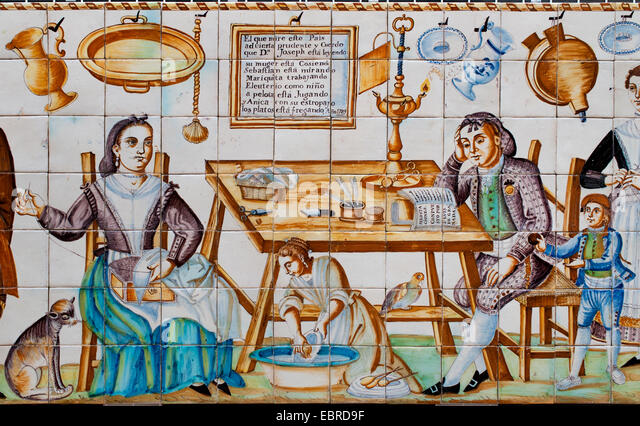 Tile panel Kitchen  Polychrome pottery Valencia 1788  Spain Spanish - Stock Image