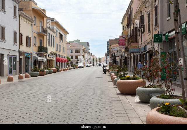 Street scene of Porto Torres, Northern Sardinia - Stock Image