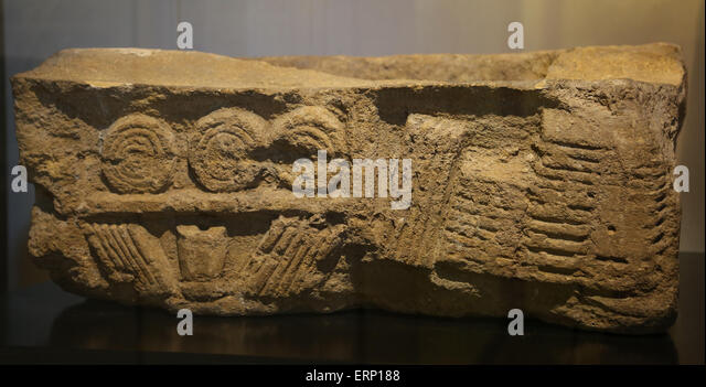 Relief depicting the interior of an archive or library. From Buzenol, Belgium. Limestone. 2nd-3rd century AD. Brussele. - Stock-Bilder
