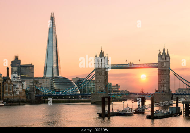 London, Tower bridge and Shard London Bridge at sunset - Stock Image