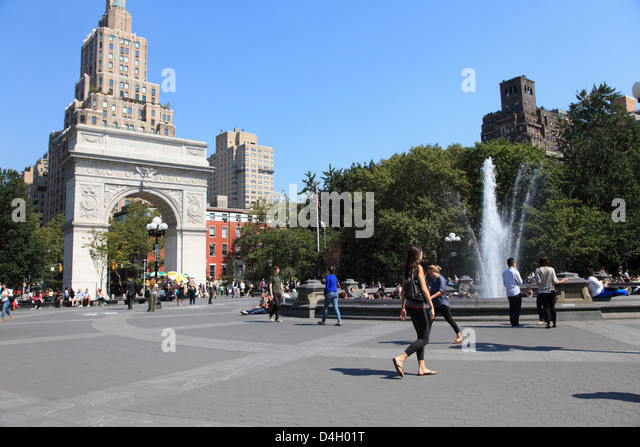 Washington Square Park, Washington Square Arch, Greenwich Village, West Village, Manhattan, New York City, USA - Stock Image