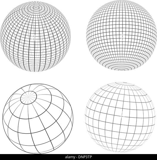 Various designs of wireframe globes - Stock Image